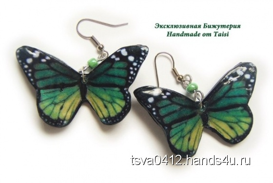 Купить серьги с бабочками, Полимерная глина, Серьги, Украшения ручной работы. Мастер Таисия Шишкина (tsva0412) . бабочки