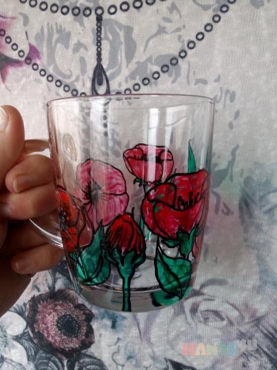 Купить Стеклянная кружечка с маками, Кружки и чашки, Посуда ручной работы. Мастер Анна Мотева (Dgokonda) . алые маки