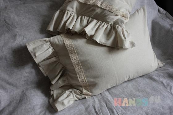 Купить Наволочки для подушек из льна, Для дома и интерьера ручной работы. Мастер Ирина Сухина (iraida2803) . наволочки кружево завязки