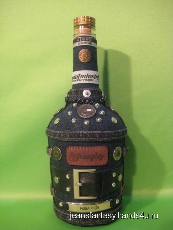 Купить Джинсовая бутылка, Элементы интерьера, Для дома и интерьера ручной работы. Мастер Фантазия Джинсовая (jeansfantasy) .