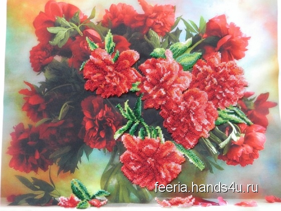 Купить Картина бисером Пионы, Картины цветов, Картины и панно ручной работы. Мастер Светлана Савенкова (feeria) . букет цветов