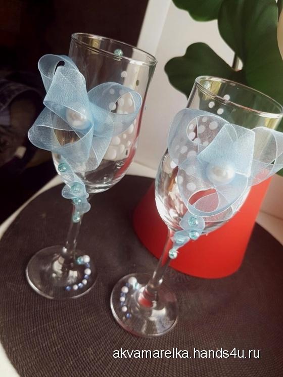 Купить Воздушное счастье, Свадебные бокалы, Свадебные аксессуары, Свадебный салон ручной работы. Мастер Евгения  (Akvamarelka) . бокалы для жениха и невесты