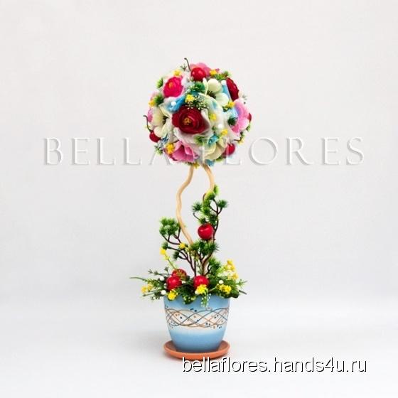 Купить Топиарий кипарис в вишнях, Топиарии, Цветы и флористика ручной работы. Мастер Вероника Чередник (bellaflores) . топиарий