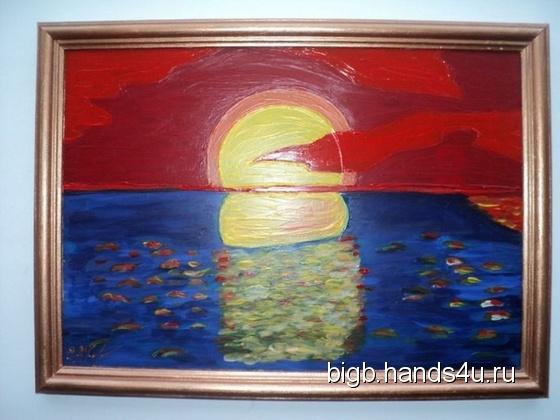 Купить Красный закат, Картины и панно ручной работы. Мастер   (BigB) . витраж