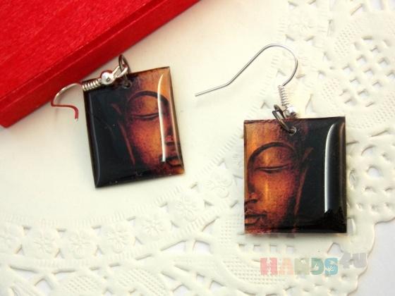 Купить Серьги Будда прозрачные, Смешанная техника, Серьги, Украшения ручной работы. Мастер Мария Колосова (ololo) .