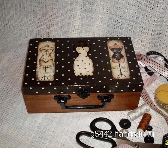 Купить Шкатулка-чемодан для швейных принадлежностей Манекены, Декупаж, Шкатулки, Для дома и интерьера ручной работы. Мастер Ольга  (g8442) . коричневый