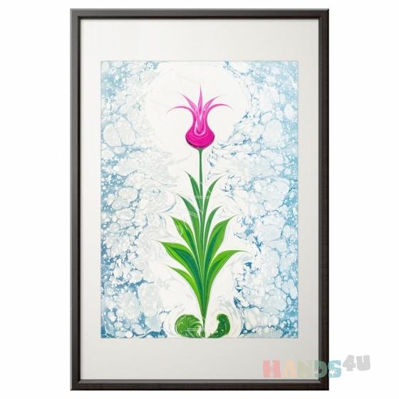 Купить Тюльпан Картина эбру, Картины цветов, Картины и панно ручной работы. Мастер Юля Лисина (integraart) .