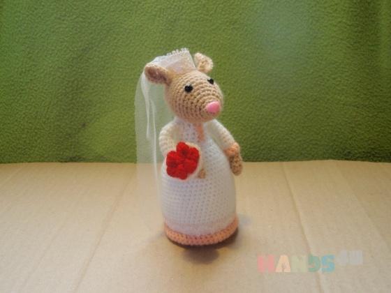 Купить  Мышь-невеста, Персональные подарки, Подарки к праздникам ручной работы. Мастер Елена Гриценко (grena) . амигуруми