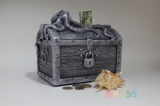 Купить копилка для монет Пиратский сундук старое серебро, Копилки, Сувениры и подарки ручной работы. Мастер юрий кулешов (ykuleshov61) .