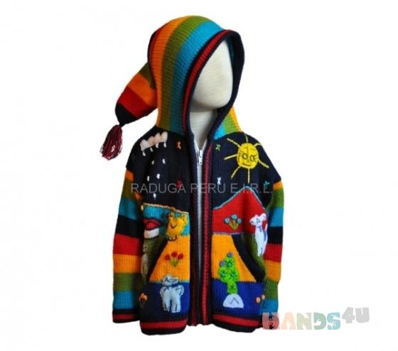 Купить Детский свитер из шерсти альпаки, Этническая одежда, Одежда ручной работы. Мастер Даниель Рамирес (arcoiris) .