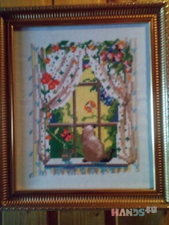 Купить Вышивка Кошка на окне, Для дома и интерьера ручной работы. Мастер Дмитрий Правдин (dd300120) .