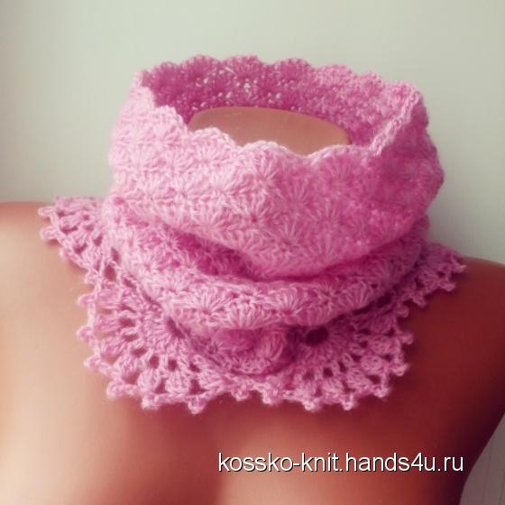 Купить Снуд для девочки Малинка, Шапочки, шарфики, Одежда для девочек, Работы для детей ручной работы. Мастер Жанна  (Kossko-knit) . вязаный снуд