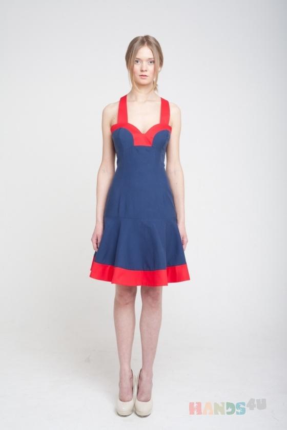 Купить Платье с красной отделкой, Шитые, Повседневные, Платья, Одежда ручной работы. Мастер Оксана ЛИ (sanastudio) . авторское платье