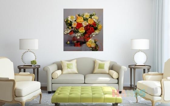 Купить Картина лентами - Розы со сливками  , Картины цветов, Картины и панно ручной работы. Мастер   (lentami) .