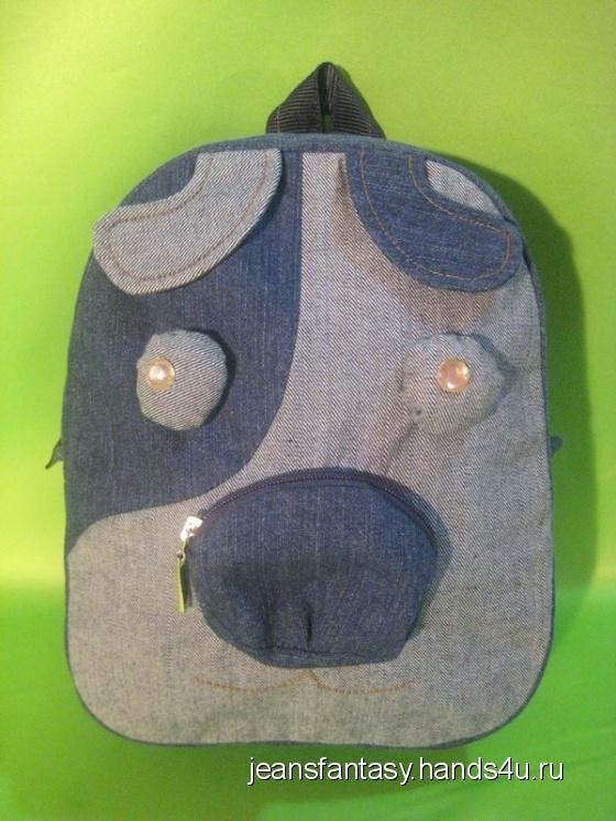 Купить Детский рюкзак - собака, Рюкзаки, Сумки и аксессуары ручной работы. Мастер Фантазия Джинсовая (jeansfantasy) . турецкие джинсы