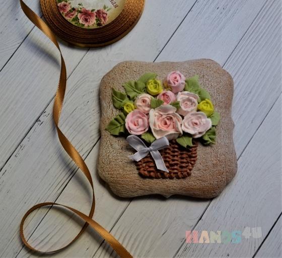 Купить Корзина с цветами, Подарки к праздникам ручной работы. Мастер Наталья Ковыршина (pryanikoff) .