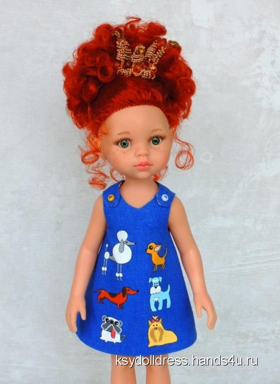 Купить Льняное платье с ручной росписью Собачки для куклы Paola Reina 33 см, Одежда для кукол, Куклы и игрушки ручной работы. Мастер Оксана Алексеева (Ksydolldress) . авторское платье