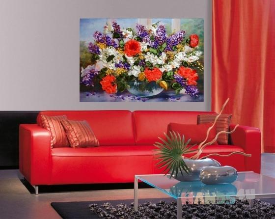 Купить Картина лентами - Сирень с маками на окне, Картины цветов, Картины и панно ручной работы. Мастер   (lentami) .