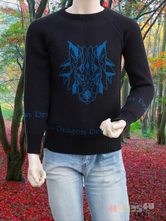 Купить Мужской теплый свитер с драконом, Свитера, Для мужчин, Одежда ручной работы. Мастер Владимир  (Skiff) . теплый мужской свитер