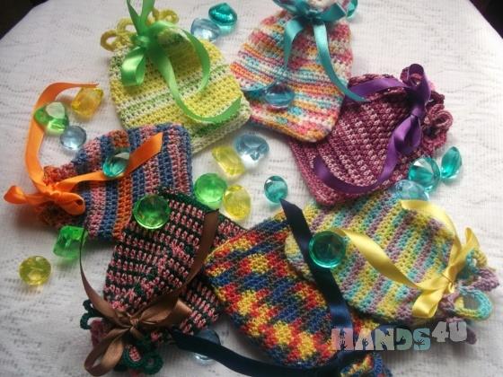 Купить Подарочные мешочки вязаные Цветной микс, Подарочная упаковка, Сувениры и подарки ручной работы. Мастер   (LenaL27) .