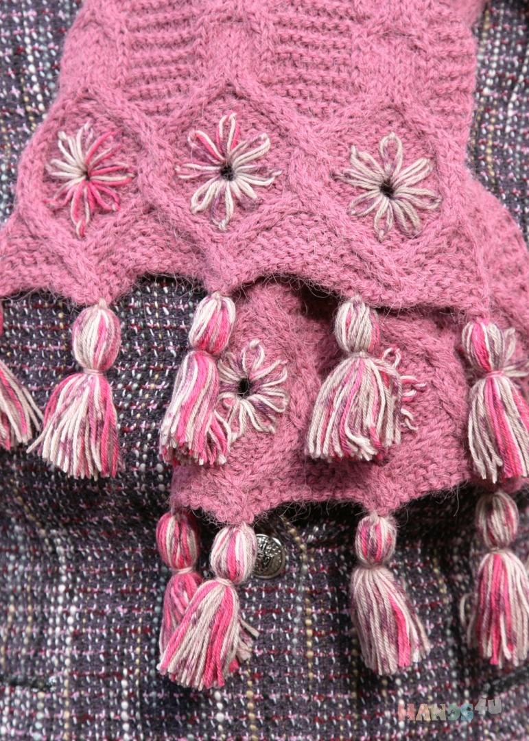 28751f177c98 Шарф вязаный розовый c помпонами коралловый малиновый роза цветы ID ...