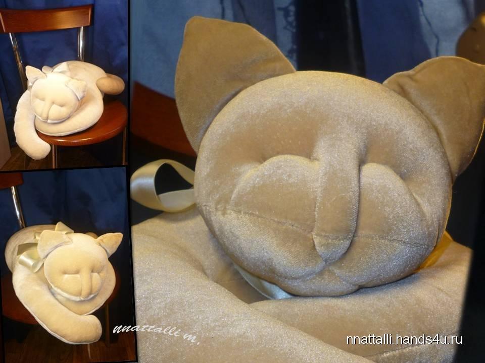 Как сшить подушку спящий котик