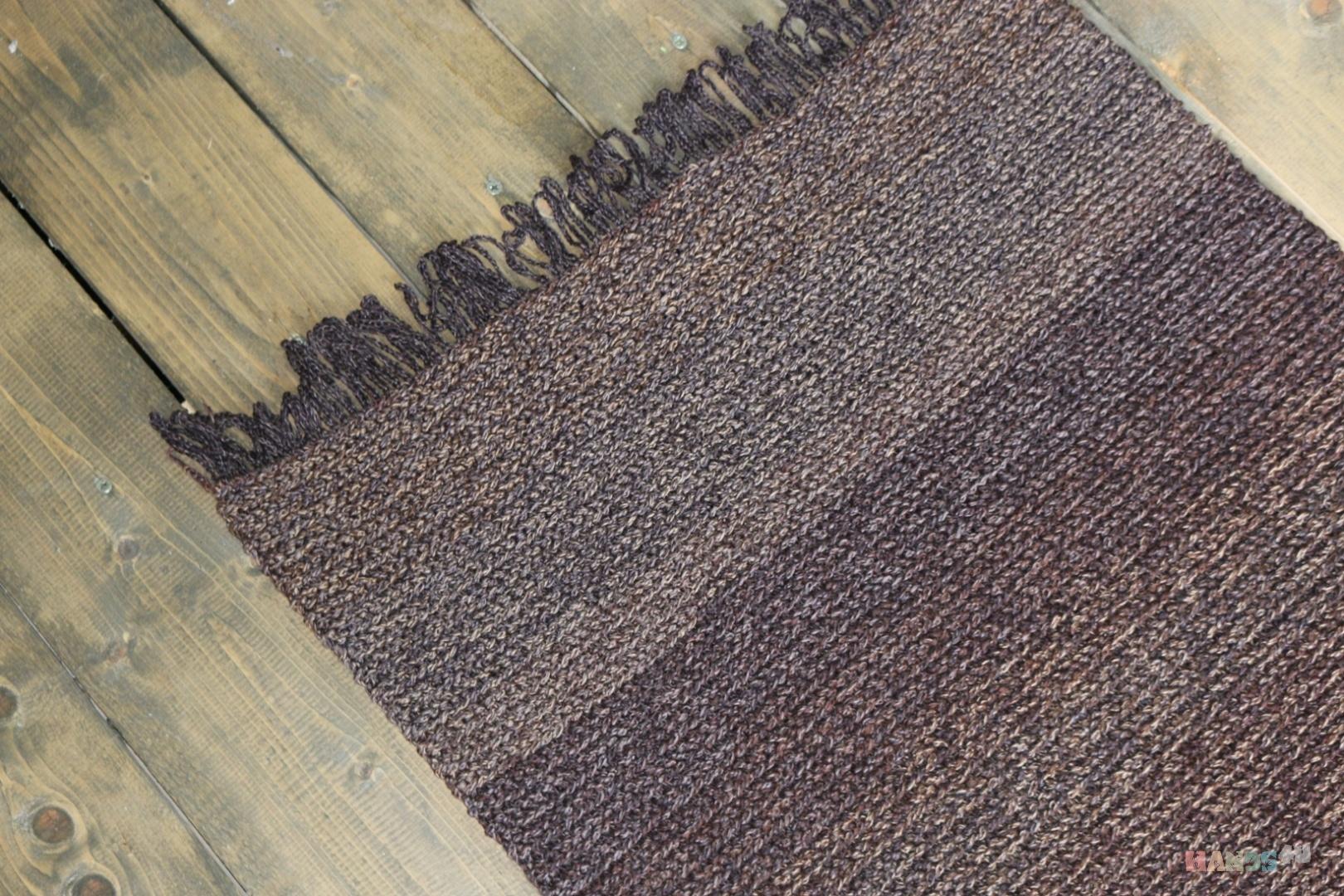 вязаный коврик коричневый с бахромой Id 9343 ковры текстиль ковры
