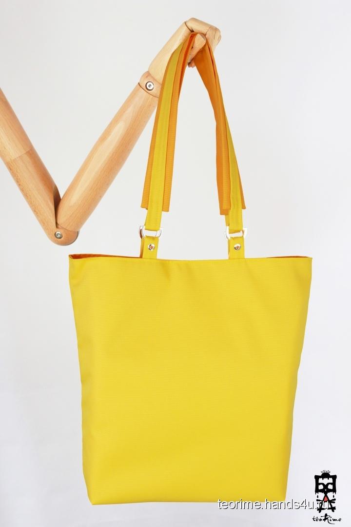 f396fab5cd80 Купить Двухцветная сумка-шоппер Happy casual (желто-мандариновая), Шитые,  Повседневные, Женские сумки, Сумки и аксессуары ручной работы.