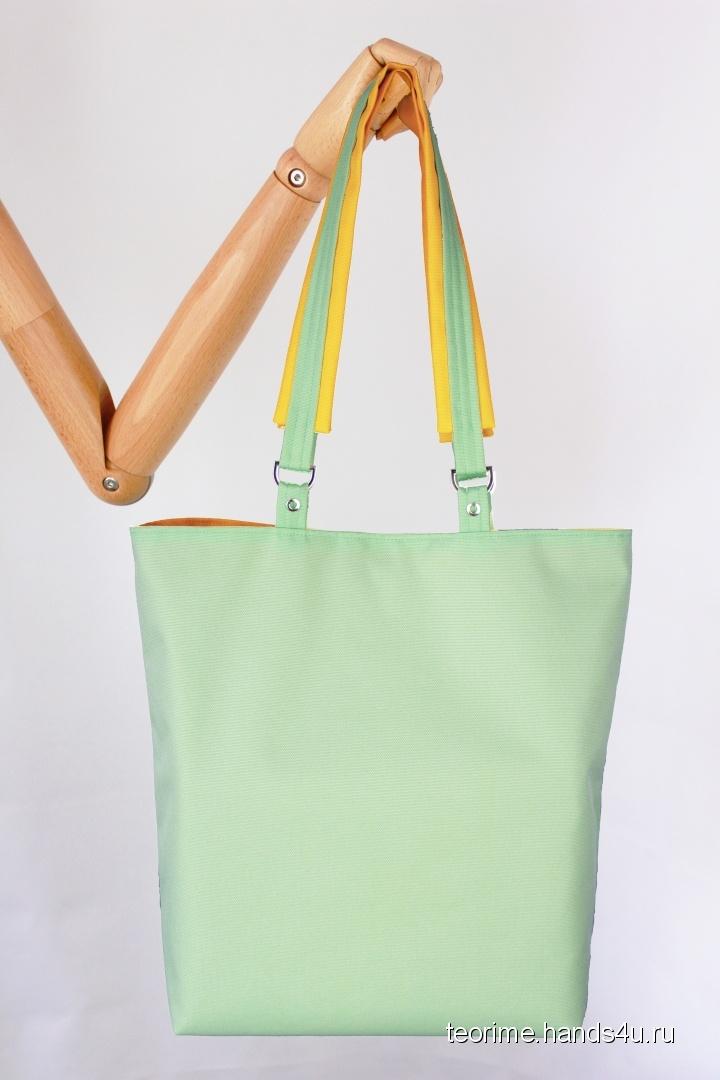 fdb7f64a856e Купить Двухцветная сумка-шоппер Happy casual (мятно-желтая), Шитые,  Повседневные, Женские сумки, Сумки и аксессуары ручной работы.