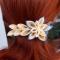 Купить Заколка из атласных лент, Украшения ручной работы. Мастер Татьяна  (Hosta) . украшение синий цветок