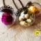 Купить Стеклянные кулоны с сухоцветами, Смешанная техника, Кулоны, подвески, Украшения ручной работы. Мастер Валерия  (Lerchenok) . клевер